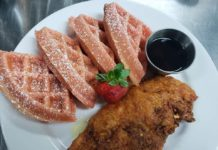 Shugga Hi's Chicken and Strawberry Waffles
