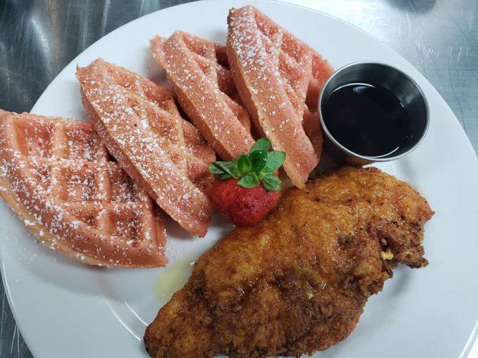 Shugga Hi's Chicken and Strawberry Waffles