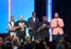 Korey Wise, Raymond Santana Jr., Yusef Salaam, Antron McCray, and Kevin Richardson speak onstage at the 2019 BET Awards