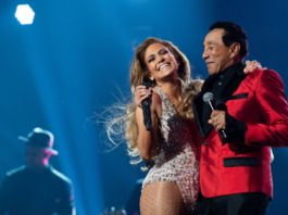 Jennifer Lopez and Smokey Robinson perform onstage at the 61st annual Grammy Awards at Staples Center in Los Angeles on Sunday. CREDIT: Emma McIntyre/Getty Images/Getty Images for the Recording Academy
