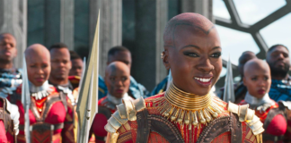 """Danai Gurira stars in the hit Marvel film """"Black Panther."""" Marvel Studios reissued the official poster for """"Avengers: Endgame"""" after a backlash over star Danai Gurira not receiving top billing."""