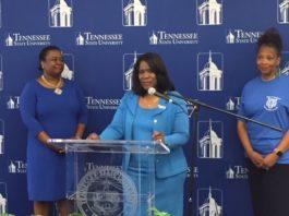 TSU President Dr. Glenda Glover (center); Dr. Alisha Mosley, interim Vice President of Academic Affairs (left); and Dr. Robbie Melton, the initiative's facilitator, talk to media before kickoff. (TSU Media Relations)