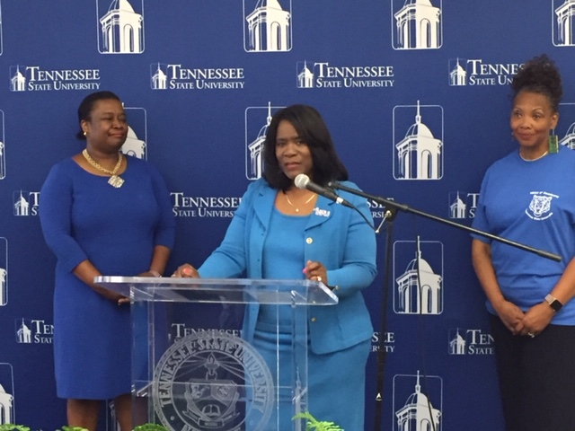 TSU President Dr. Glenda Glover (center); Dr. Alisha Mosley, interim Vice President of Academic Affairs (left); and Dr. Robbie Melton, the initiative's facilitator, talk to media before kickoff. (TSU Media Relations)