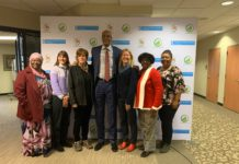 (l-r) Councilmember At-Large Zulfat Suara, Councilmember At-Large Burkley Allen, Councilmember Ginny Welsch, Nashville General Hospital CEO Dr. Joseph Webb, Councilmember Tonya Hancock, Councilmember At-Large Sharon Hurt, Delishia Porterfield