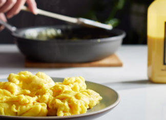 When cooked, Just Egg looks like scrambled eggs.