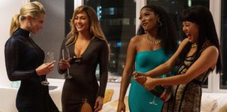 The heist film, Hustlers, starring Jennifer Lopez, Constance Wu, Cardi B, Julia Stiles, Keke Palmer, Lili Reinhart and Lizzo is set in a strip club and the trailer opens with Lopez demonstrating for Wu some impressive pole dancing.