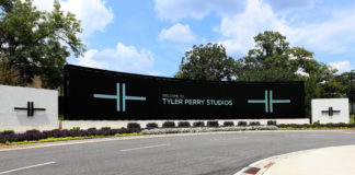 'Welcome To Tyler Perry Studios' signage outside Tyler Perry Studios in Atlanta, Georgia on July 27, 2019.