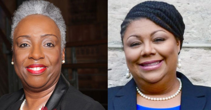 (l-r) Council At-Large Sharon Hurt and Councilwoman Delishia Porterfield