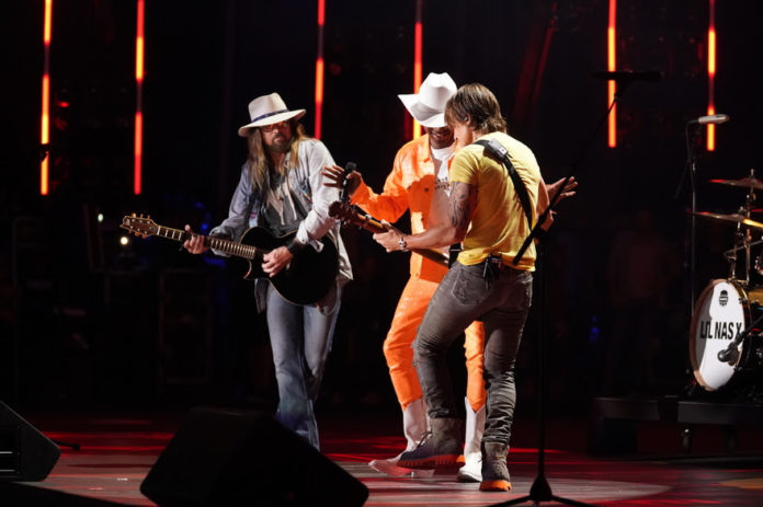 """Lil Nas X, Billy Ray Cyrus and Keith Urban surprise CMA Fest attendees with an epic performance of """"Old Town Road"""" at Nissan Stadium in Nashville Saturday, June 8. (Photo Credit: Donn Jones/CMA)"""
